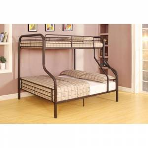 Geekbuying ACME Cairo Twin-Over-Full Size Bunk Bed Frame with Ladder Black