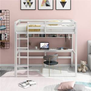 Geekbuying Twin-Size Loft Bed Frame with Desk, Storage Shelves White