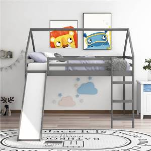 Geekbuying Full-Size Loft Bed Frame with Slide and Wooden Slats Support Gray