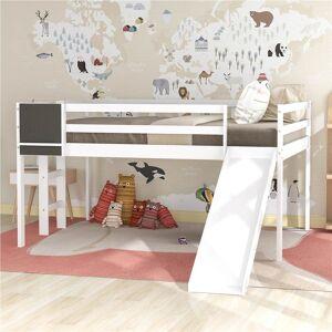 Geekbuying Full-Size Loft Bed Frame with Slide, Chalkboard White