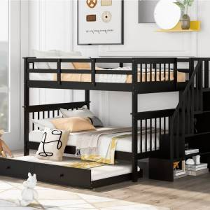 Geekbuying Full-Over-Full Size Bunk Bed Frame with Twin-Size Trundle Espresso