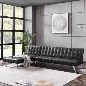 """Geekbuying 100"""" L-shaped PU Leather Sofa Bed with Metal Feet and Adjustable Backrest for Living Room, Bedroom, Office, Apartment - Black"""