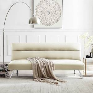 """Geekbuying 68"""" 2-Seat PU Leather Sofa Bed with Metal Legs and Wooden Frame, for Living Room, Bedroom, Office, Apartment - Beige"""