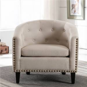 Geekbuying 1-Seat Linen Sofa with Wooden Frame and Curved Backrest for Living Room, Bedroom, Office, Apartment - Beige