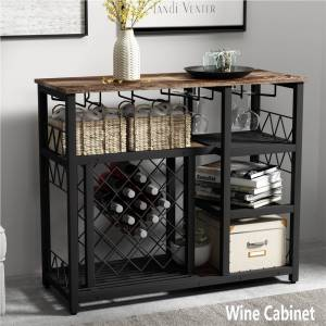 Geekbuying TOPMAX Modern Industrial Style Counter Height Dining Table, with Metal Wine Rack, and Storage Shelves - Brown