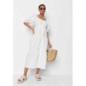 Missguided White Tiered Button Through Smock Dress  - White - Size: US 6