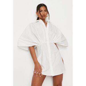Missguided White Poplin Batwing Sleeve Shirt Dress  - White - Size: US 6