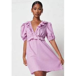 Missguided Lilac Frill Waist Linen Look Skater Dress  - Lilac - Size: US 8