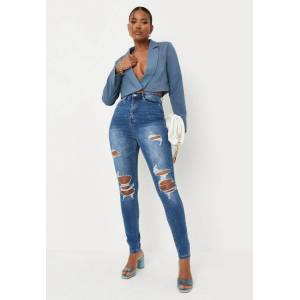 Missguided Blue Knee Distress Highwaisted Jeans  - Blue - Size: US 4