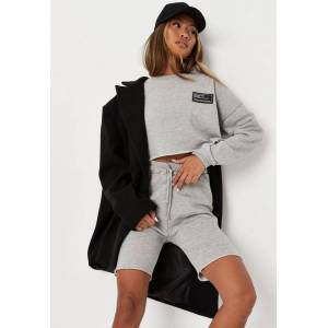 Missguided Gray Marl Missguided Crop Sweatshirt And Biker Shorts Co Ord Set  - Grey - Size: US 6