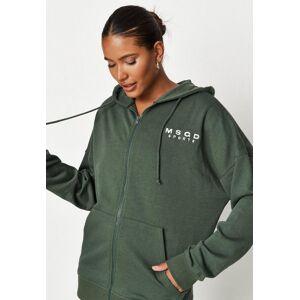Missguided Khaki Msgd Sports Loopback Zip Through Hoodie  - Kahki - Size: US 14