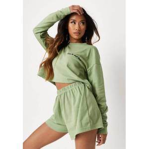 Missguided Green Enjoy The Small Things Loungewear Set  - Kahki - Size: US 4