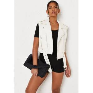 Missguided Cream Faux Leather Biker Tank Top  - Cream - Size: US 10