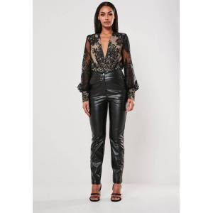 Missguided Black Organza Lace Bodysuit  - Black - Size: US 4