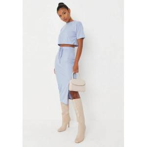 Missguided Blue Crop Top And Midi Skirt Co Ord Set  - Blue - Size: US 4