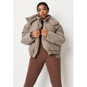Missguided Plus Size Stone Soft Touch Puffer Jacket  - Brown - Size: US 14