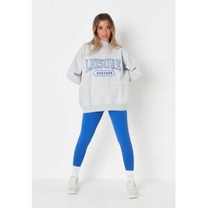 Missguided Gray Leisure Graphic High Neck Oversized Sweatshirt  - Grey - Size: US 4