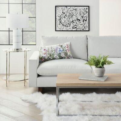 Ashley Furniture Nourison Outdoor Garden Floral Throw Pillow, White