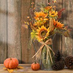 """22"""" Harvest Flower Filled Metal Teapot, Orange"""
