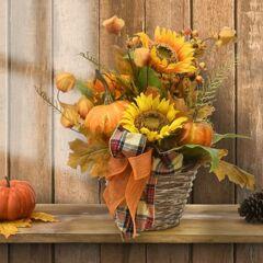 "16"" Harvest Pumpkin and Sunflower Basket with Ribbon, Orange"