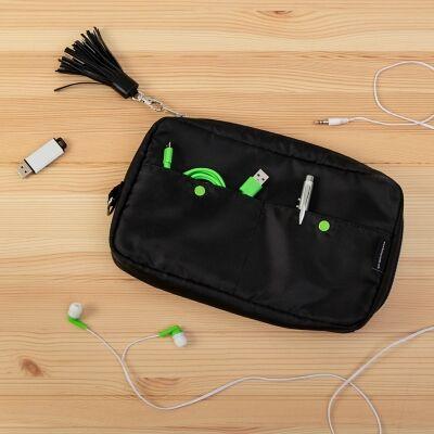 Compact 6-Pocket Tech & Phone Accessories Organizer, Gray