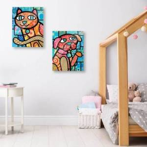 Ashley Furniture Quilted Red Kitty and Puppy 24x36 Acrylic Wall Art Print Set, Multi