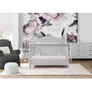 Ashley Furniture Delta Children Kids Juliette 6-in-1 Convertible Crib with Toddler Rail, Moonstruck Gray, Light Gray