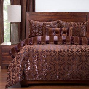 Ashley Furniture Siscovers Casablanca 6 Piece Queen Luxury Duvet Set, Dark Brown