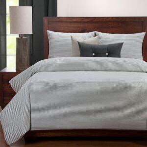 Ashley Furniture Siscovers Revolution Plus Everlast Stripe Juniper Stain Resistant 6 Piece Queen Duvet Set, Pastel Blue
