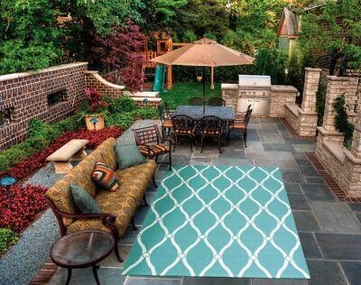 """Nourison Home & Garden 4'4"""" X 6'3"""" Aqua Geometric Indoor/outdoor Rug, Aqua"""