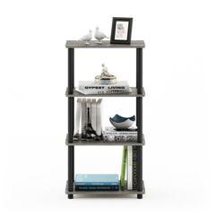 Ashley Furniture Furinno Turn-N-Tube No Tool 4-Tier Storage Shelf, French Oak Gray/Black