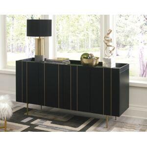 Ashley Furniture Brentburn Accent Cabinet, Black/Gold Finish