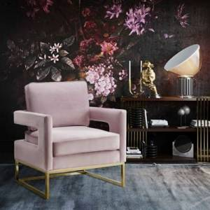 Ashley Furniture Avery Pink Velvet Chair, Pink
