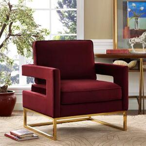 Ashley Furniture Avery Maroon Velvet Chair, Red