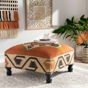Ashley Furniture Surya Panja Ottoman, Brick/Multi