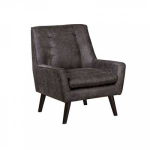 Ashley Furniture Benzara Accent Chair with Angled Legs Leather, Gray/Brown