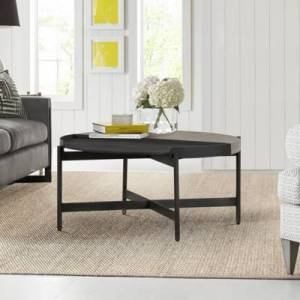 Ashley Furniture Armen Living Dua Round Coffee Table, Gray/Black