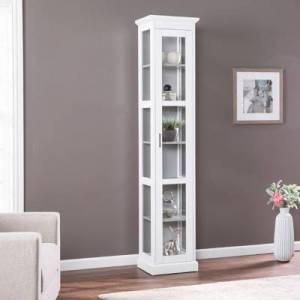 Ashley Furniture Southern Enterprises Donnie Tall Curio Cabinet, White/Cool Gray