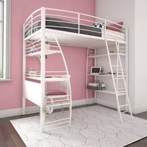 Ashley Furniture Atwater Living Lynn Twin Loft Bed with Integrated Desk and Shelves, White, White