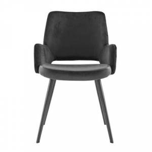 Ashley Furniture Euro Style Desi Armchair in Black Velvet Fabric and Leatherette with Black Base Leather, Black