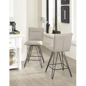 Ashley Furniture Modus Furniture International Demi Hairpin Leg Swivel Bar Stool in Taupe (Set of 2), Taupe