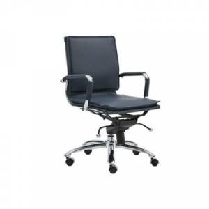 Ashley Furniture Euro Style Gunar Pro Low Back Office Chair Leather, Blue