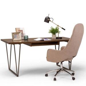 """Ashley Furniture Simpli Home Ryder 66"""" Wooden Office Desk, Brown"""