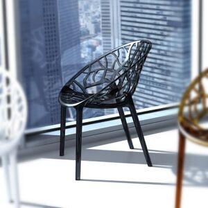 Ashley Furniture Siesta Outdoor Crystal Modern Dining Chair Transparent Black (Set of 2), Transparent Black