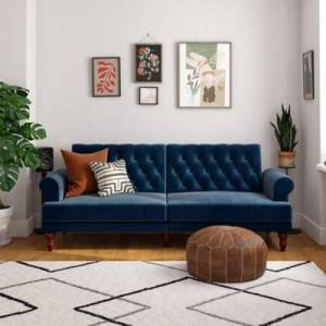 Ashley Furniture Novogratz Upholstered Velvet Cassidy Convertible Couch, Blue