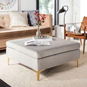 Ashley Furniture Safavieh Giovanna Square Ottoman, Gray/Brass