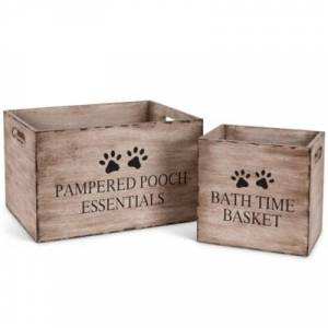 Ashley Furniture The Gerson Company Pet Toy Storage Boxes (Set of 2), Brown