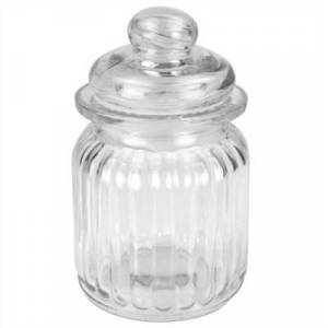 Ashley Furniture Home Accents Multi-Purpose 8 oz. Rippled Glass Mini Pantry Storage Jar with Dome Lid, Clear, Clear