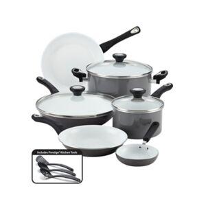 Farberware Aluminum Ceramic 12-Piece Cookware Set, Gray, Gray