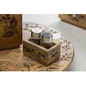 Ashley Furniture The Gerson Company Glass Salt And Pepper Shakers In Mango Wood With Laser And Metal Inlay Leaf Design Base, Brown